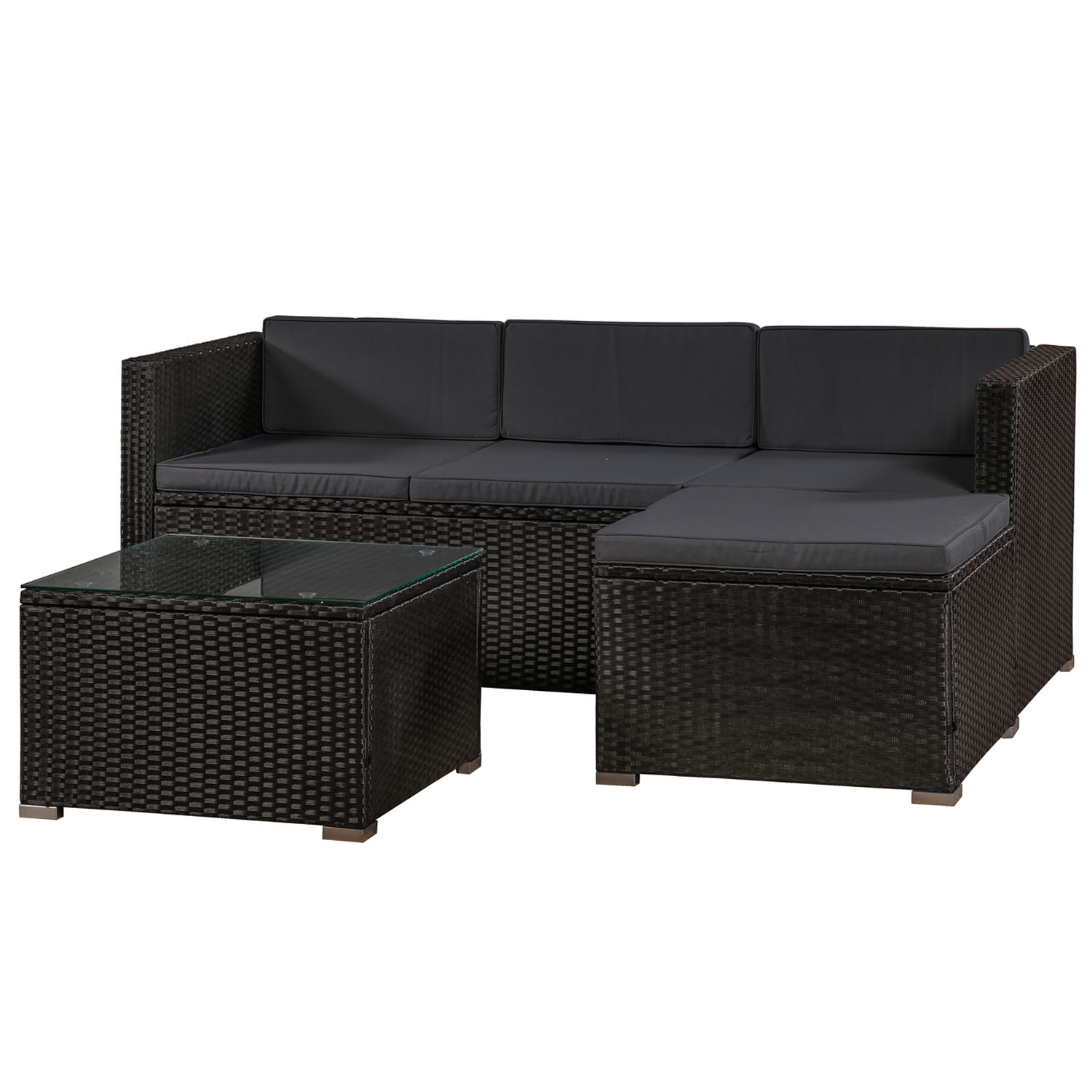 polyrattan lounge sitzgarnitur punta cana m schwarz mit bez gen in dunkelgrau juskys. Black Bedroom Furniture Sets. Home Design Ideas